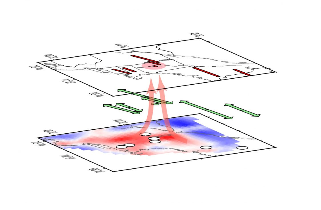 In the figure, measurements of the strength of mantle flow are shown along with the colored map of seismic wave speed at 195 kilometers (121 miles) beneath the Earth's surface, under the North American tectonic plate. The warm colors indicate lower speed, implying that rock in those regions is less dense, likely warmer and rising toward the surface. The key finding is that mantle flow indicators are smallest above the warm region, likely because warmer rock flows upward and disrupts the horizontal flow. Image: Vadim Levin/Rutgers University-New Brunswick