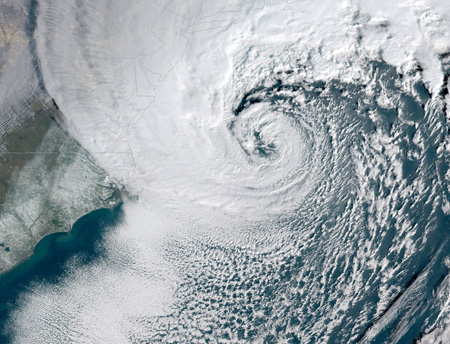 A powerful nor'easter battered the U.S. East Coast on Jan. 4, 2018. Image: NOAA