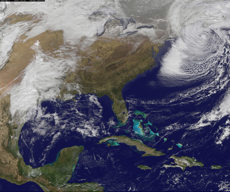 This nor'easter in early February 2013 packed hurricane-force wind gusts and dumped lots of snow. Image: NASA-NOAA GOES Project Science Team