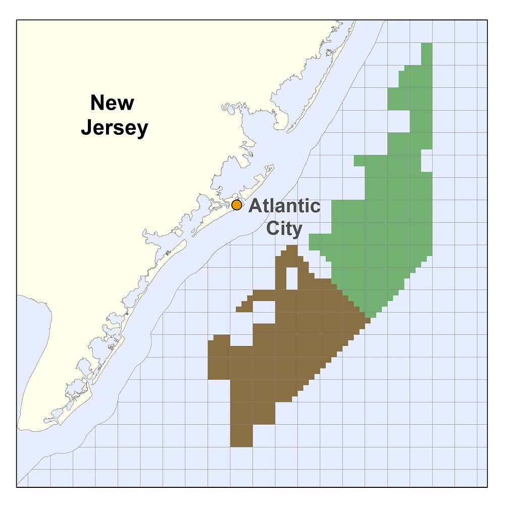 The New Jersey Wind Energy Area, where hundreds of wind turbines may eventually be built, is shaded green and brown. Image: Bureau of Ocean Energy Management, U.S. Department of the Interior