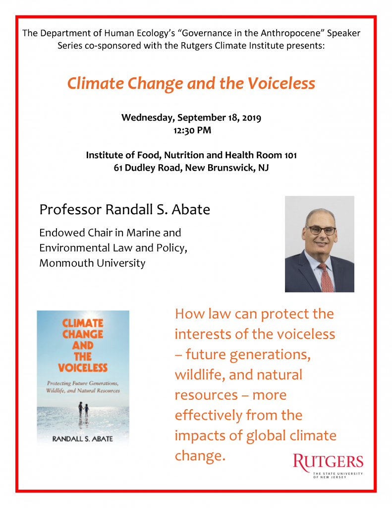 Climate Change and the Voiceless: Protecting Future Generations, Wildlife, and Natural Resources flyer