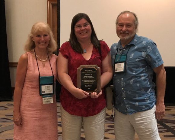 Presenting the Peter Raven award at the Botany 2019 conference (l-r): ASPT president-elect Pam Soltis, professor Lena Struwe, and president Mark Fishbein