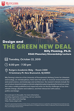"October 22: EOAS Planetary Stewardship Lecture, ""Design and the Green New Deal"""