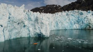 An autonomous kayak surveys the ocean in front of the 20-mile-long LeConte Glacier in Alaska. The kayak measures ocean currents and water properties to study the underwater melting of the glacier and track meltwater as it spreads in the ocean. Photo: David Sutherland/University of Oregon