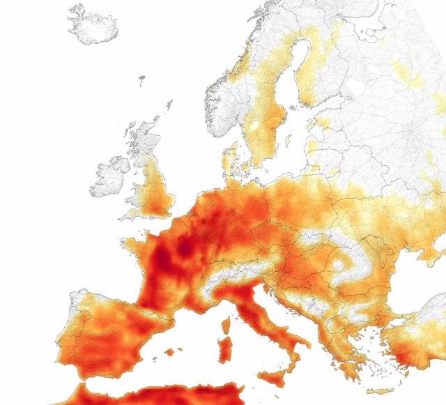 A scorching heat wave led to temperature records in at least seven countries in Europe on July 25, 2019. Image: NASA Earth Observatory