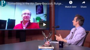 Meteorologist Joe Martucci chats with his old Rutgers University Meteorologist Professor and current chair of the Department of Environmental Science at Rutgers, Tony Broccoli.