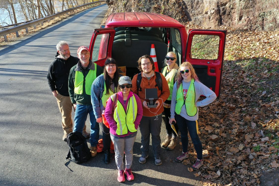 """The team led by Lauren Neitzke Adamo piloted the Inspire 1 drone as it surveyed the area around """"Pebble Bluff"""" Roadcut at Riegelsville Milford Road in Holland Township."""