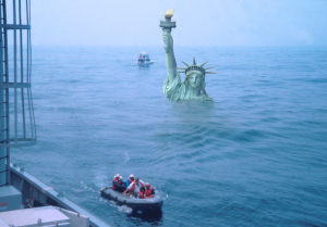 Scientists boarding the D/V JOIDES Resolution off New Jersey in 1993. The sea level in an ice-free world would be 66 meters (216.5 feet) higher than now – shoulder-high to the Statue of Liberty. Kenneth G. Miller, James V. Browning and Gregory S. Mountain