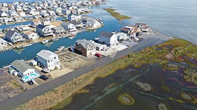 Coastal flooding in Tuckerton, New Jersey, from a storm off the East Coast in October 2019. Such flooding, which occurred during a high tide, is expected to increase as a result of sea-level rise. Image: Life on the Edge Drones