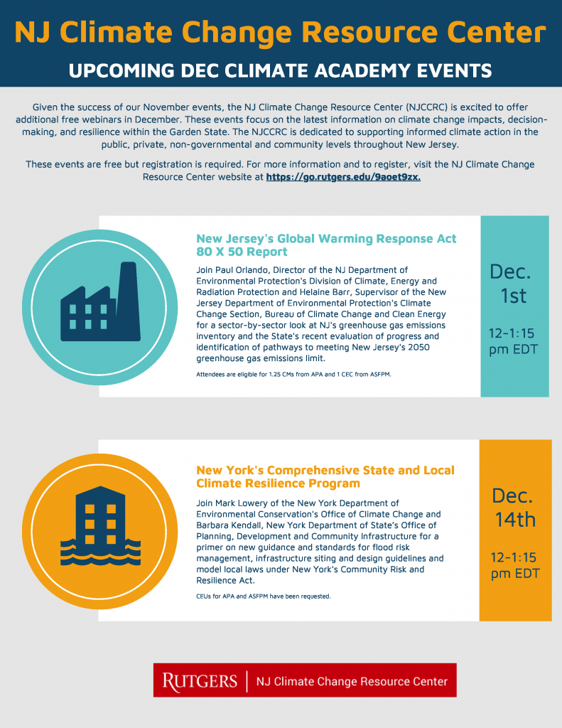 December Events flyer. Vist https://njclimateresourcecenter.rutgers.edu/ for more details about the events on this flyer