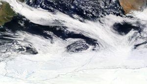 A band of clouds in an atmospheric river extending from South America to the Antarctic sea ice zone on Sept. 16, 2017. Image: NASA