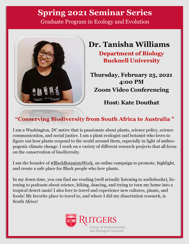 Tanisha Williams seminar flyer. Email mdrews@rutgers.edu for abstract.