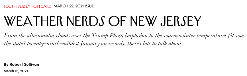 The New Yorker Interviews alumnus Joe Martucci and EOAS faculty member David Robinson