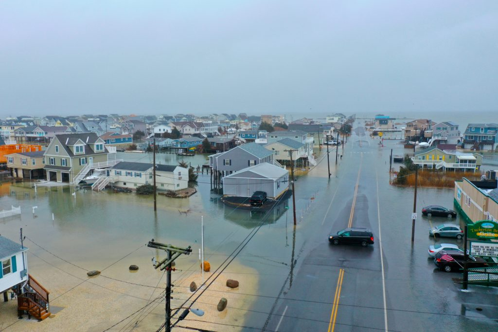 """In February 2021, nor'easter Orlena swamped the New Jersey shore community of Tuckerton, the most recent storm damaging coastal towns in the state. Governor Phil Murphy has implemented several guidelines to assist coastal municipalities develop """"resilience,"""" or the ability to prepare for and recover from flooding and storms. Rutgers is helping communities prepare on several fronts; the Coastal Climate Risk and Resilience program is one of them. Photography by Lisa Auermuller"""