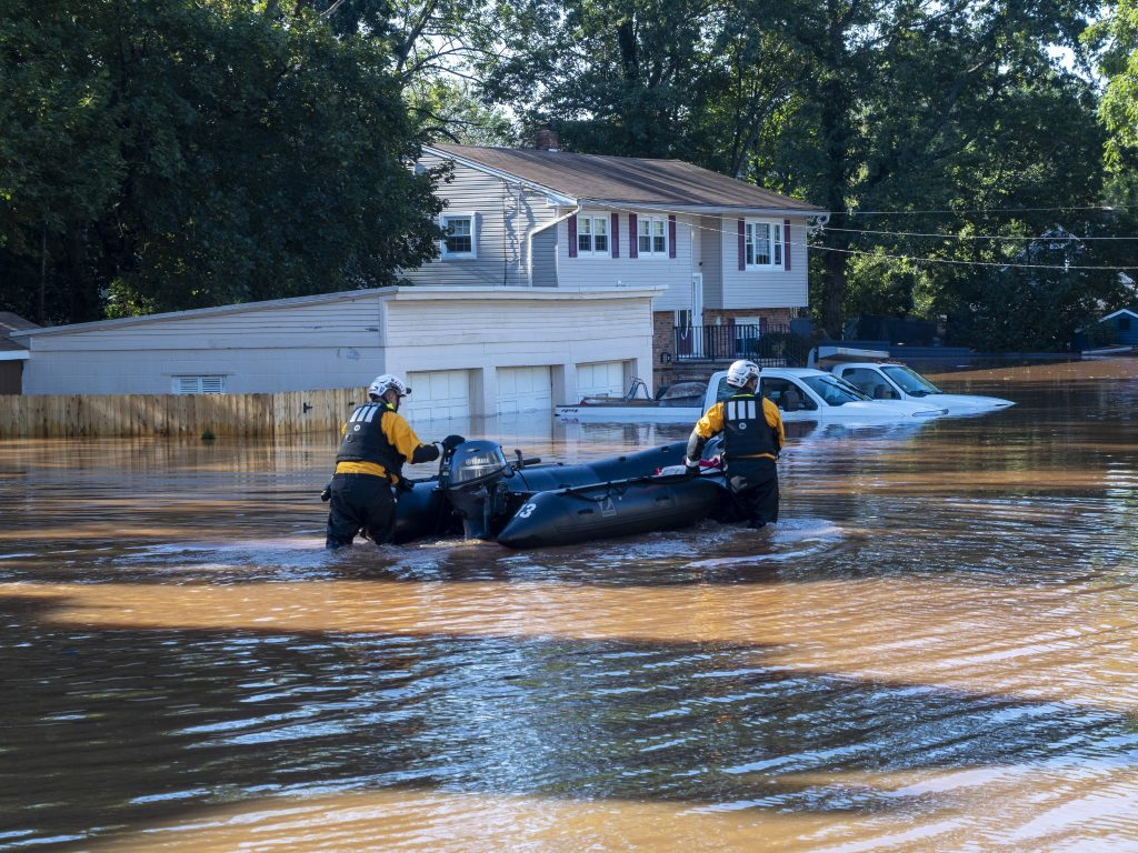 Members of New Jersey's Task Force 1 Urban Search and Rescue Team perform operations in Somerville, NJ in the wake of Hurricane Ida's remnants causing record breaking flooding. Kopp said the hurricane reminded New Jersey how critical it is to both stabilize the global climate and adapt to the changes we've already locked in. Photo by Matt Drews