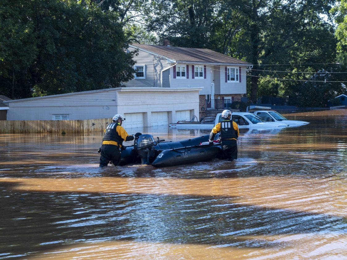 Members of the New Jersey State Police's Task Force 1 perform search and rescue operations in Somerville, NJ in the wake of Hurricane Ida's remnants causing record breaking flooding. Kopp said the hurricane reminded New Jersey how critical it is to both stabilize the global climate and adapt to the changes we've already locked in. Photo by Matt Drews